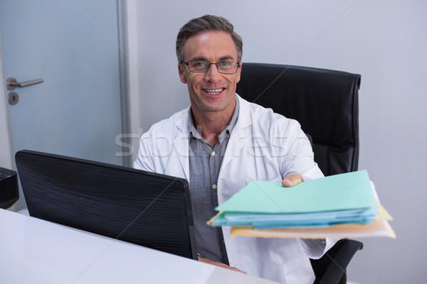 Stockfoto: Portret · tandarts · bestand · vergadering · computer