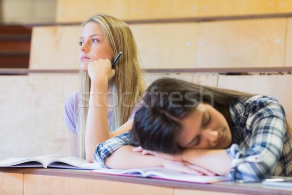 Sıkılmış öğrenci dinleme sınıf arkadaşı uyku üniversite Stok fotoğraf © wavebreak_media