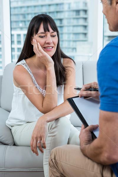 Stok fotoğraf: Kadın · danışman · terapist · klinik · kalem · sağlık