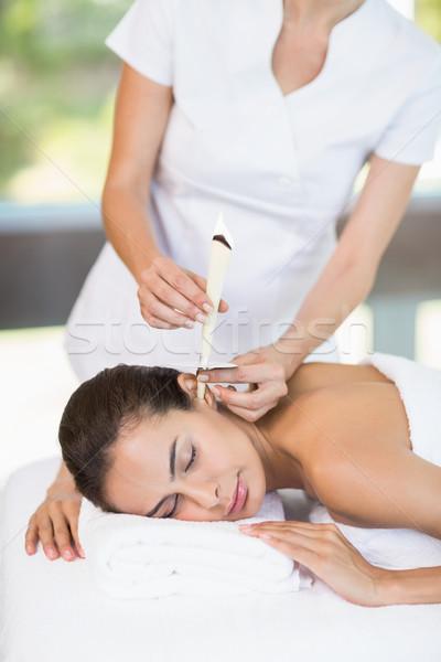Foto d'archivio: Bella · trattamento · termale · femminile · massaggiatore · donna