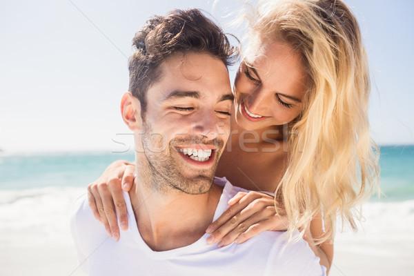 Fiúbarát malac hát barátnő tengerpart boldog Stock fotó © wavebreak_media