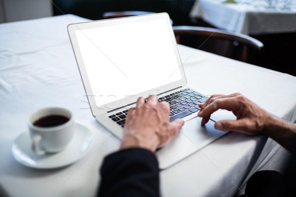 Empresario usando la computadora portátil restaurante sesión mesa ordenador Foto stock © wavebreak_media