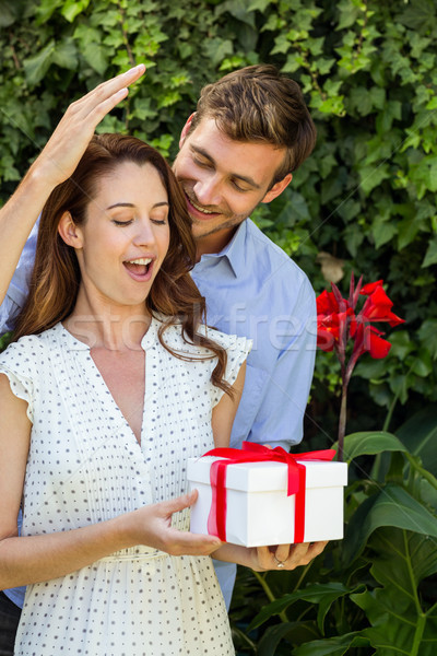 Man giving gift to woman at front yard Stock photo © wavebreak_media