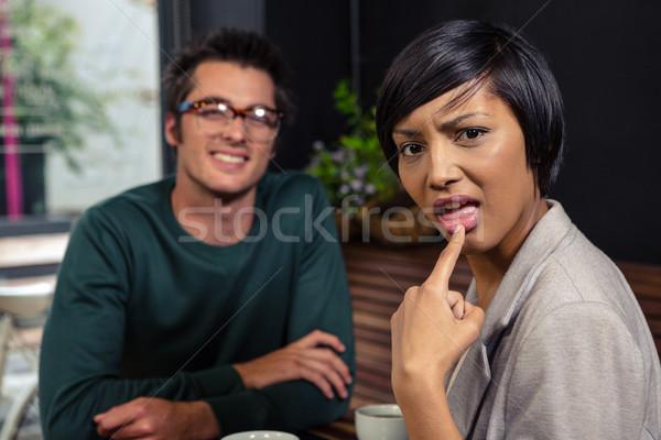 Disgusted woman speaking with man Stock photo © wavebreak_media