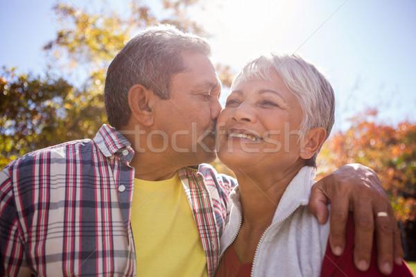 Idoso homem beijando esposa parque mãos Foto stock © wavebreak_media