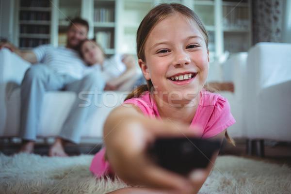 Gülen kız halı ev sevmek adam Stok fotoğraf © wavebreak_media