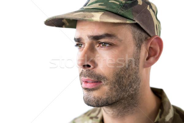 Primer plano soldado bandera de Estados Unidos bandera diversión pelota Foto stock © wavebreak_media