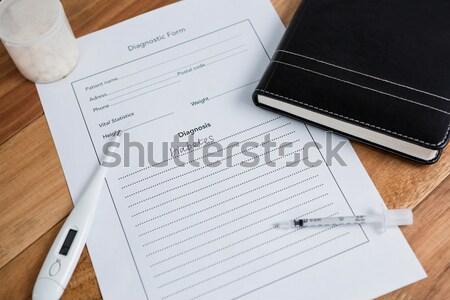 Közelkép injekció cukorbetegség diagnózis napló asztal Stock fotó © wavebreak_media