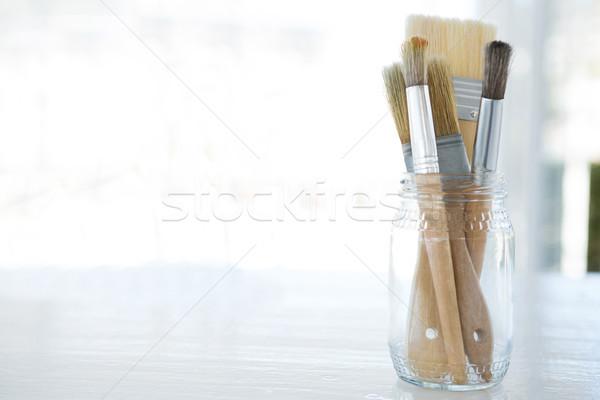 различный кисти стекла банку образование щетка Сток-фото © wavebreak_media