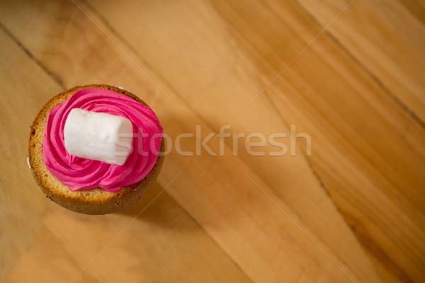 Desszert felszolgált fa asztal kávéház boldog képernyő Stock fotó © wavebreak_media