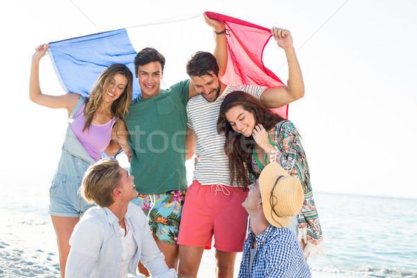 Boldog barátok tart francia zászló part Stock fotó © wavebreak_media