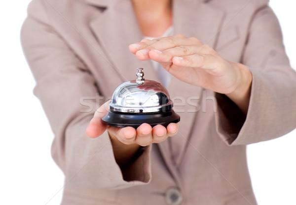 Primer plano mujer de negocios servicio campana blanco negocios Foto stock © wavebreak_media