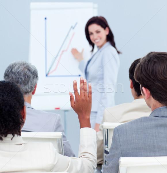 концентрированный деловая женщина вопросе конференции коллеги Сток-фото © wavebreak_media