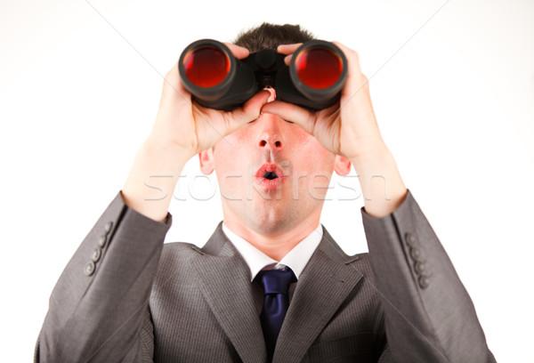 Jovem empresário olhando binóculo moda fundo Foto stock © wavebreak_media