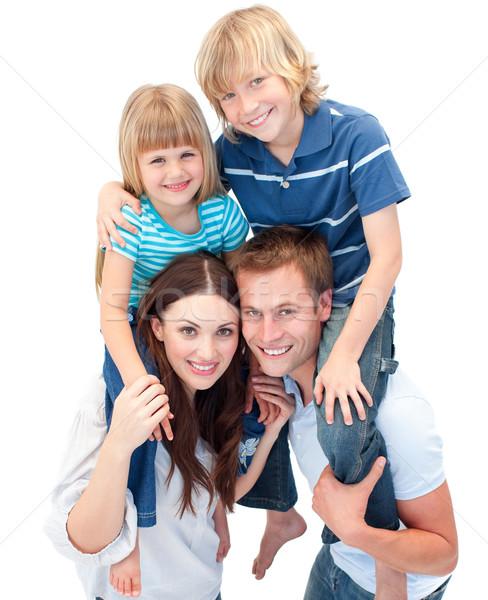 Imádnivaló család élvezi háton mosoly boldog Stock fotó © wavebreak_media
