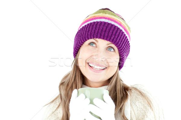Aantrekkelijke vrouw naar camera witte glimlach koffie Stockfoto © wavebreak_media