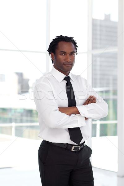 Portret ernstig afro manager naar camera Stockfoto © wavebreak_media