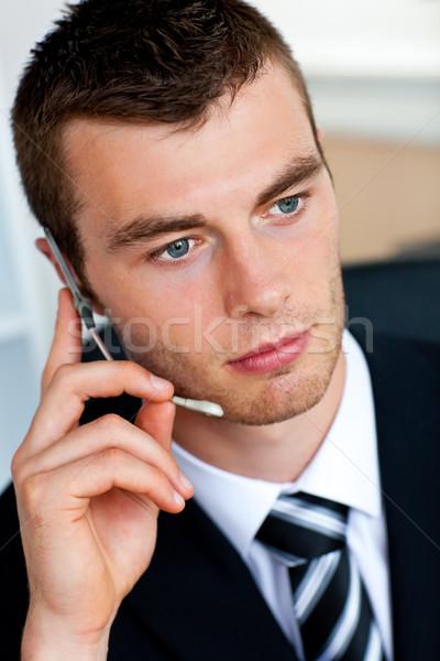 Poważny biznesmen zestawu biuro szczęśliwy Zdjęcia stock © wavebreak_media