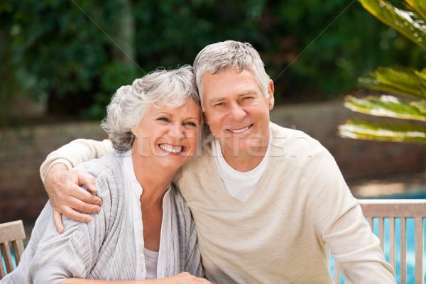 Senior couple hugging in the garden Stock photo © wavebreak_media
