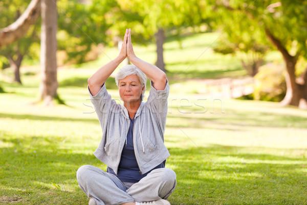 Kıdemli kadın yoga park sağlık Stok fotoğraf © wavebreak_media