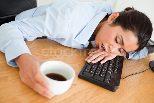 Uyku klavye fincan kahve Stok fotoğraf © wavebreak_media