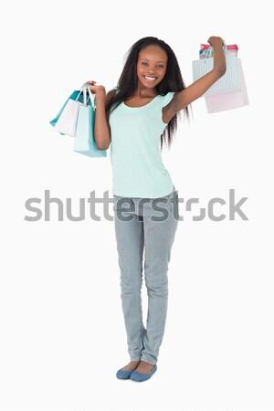 Boa aparência mulher maçã em pé Foto stock © wavebreak_media