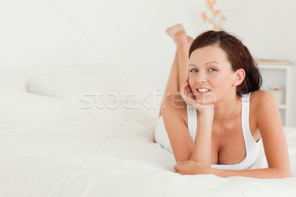Kadın yatak yatak odası yüz saç ev Stok fotoğraf © wavebreak_media
