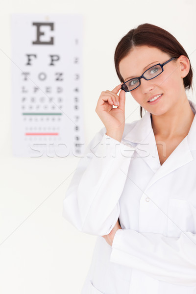 Női optikus szemüveg látásvizsgálat iroda szemek Stock fotó © wavebreak_media