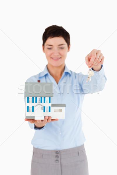 Agente immobiliare tasti miniatura casa bianco Foto d'archivio © wavebreak_media