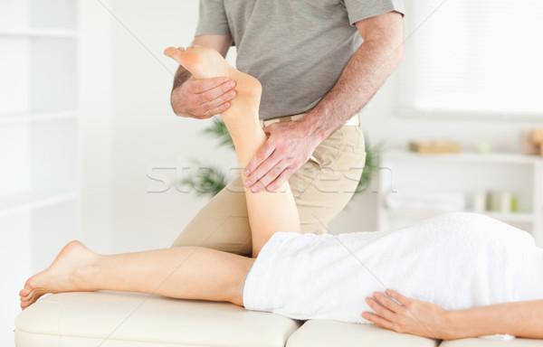 Сток-фото: ногу · массажист · стороны · спорт · тело · массаж