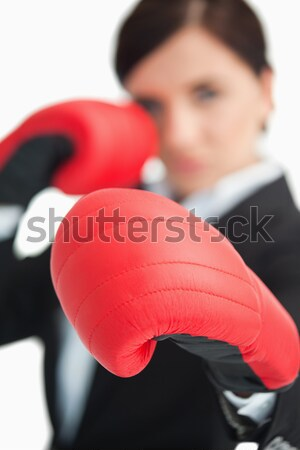 Yumruk kadın boksör beyaz spor vücut Stok fotoğraf © wavebreak_media