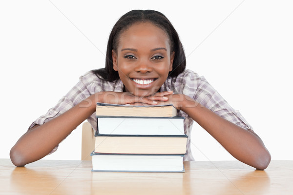 Student kin boek witte boeken Stockfoto © wavebreak_media