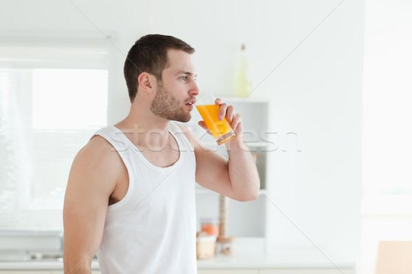 静か 男 飲料 オレンジジュース キッチン フルーツ ストックフォト © wavebreak_media