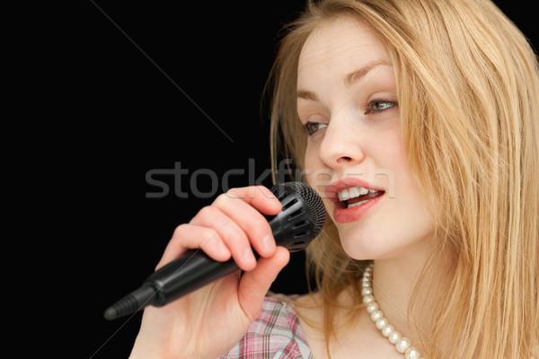 пения белый стороны микрофона женщины Сток-фото © wavebreak_media