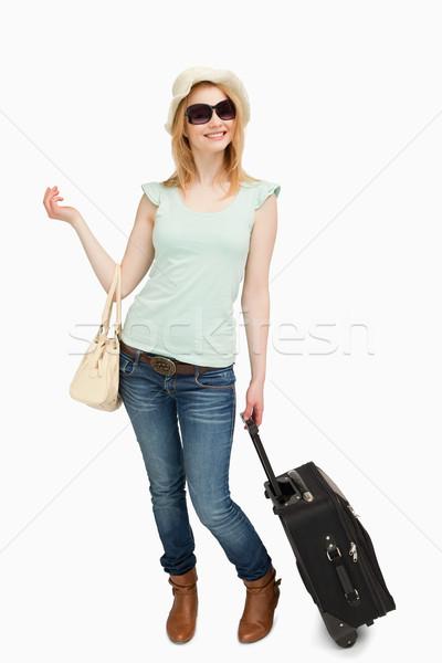 Nő áll tart fehér boldog női Stock fotó © wavebreak_media
