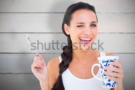Modell ház kulcs tart nő fehér Stock fotó © wavebreak_media