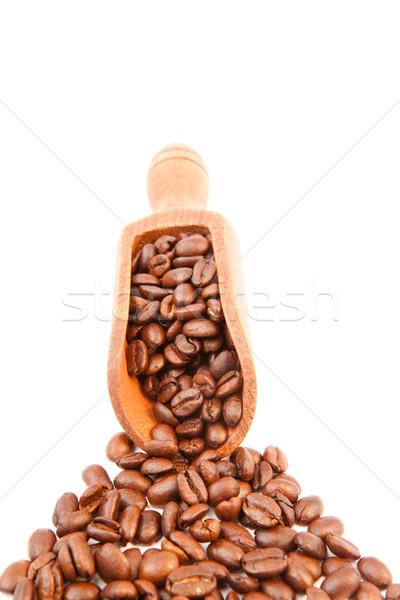 Houten schop koffiebonen witte kleur bonen Stockfoto © wavebreak_media
