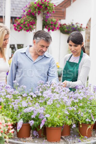 Foto stock: Dos · cliente · florista · jardín · centro · flores