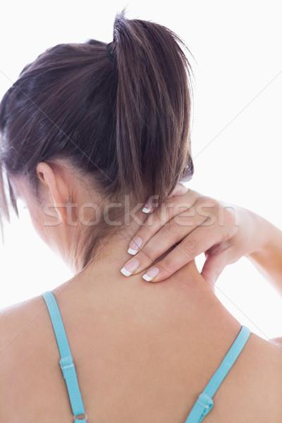 Hátsó nézet fiatal nő nyaki fájdalom fehér nő fitnessz Stock fotó © wavebreak_media