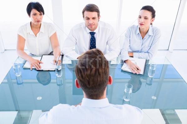 Stockfoto: Kandidaat · sollicitatiegesprek · kantoor · vergadering · bureau · baan