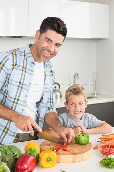 Boldog apa tanít fiú kotlett zöldségek Stock fotó © wavebreak_media