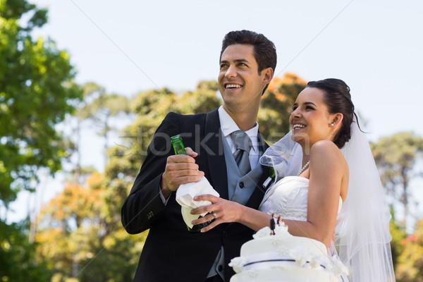 Newlywed paar champagne fles park gelukkig Stockfoto © wavebreak_media
