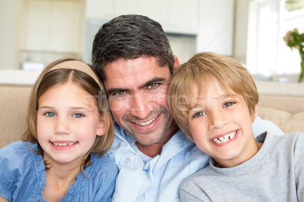 Padre bambini sorridere home ritratto ragazza Foto d'archivio © wavebreak_media