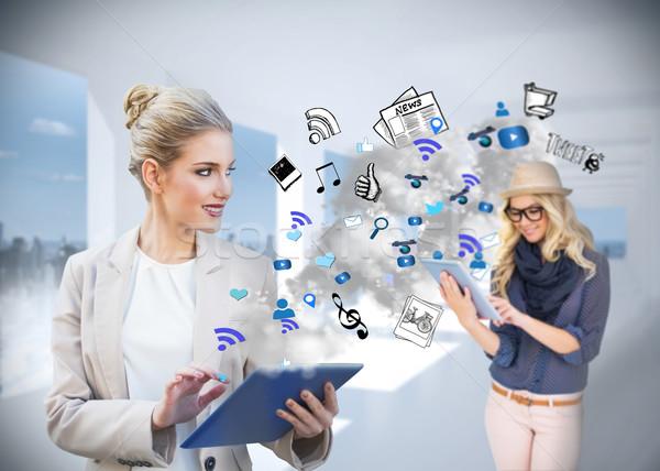 Empresária aplicativo ícones composição digital Foto stock © wavebreak_media
