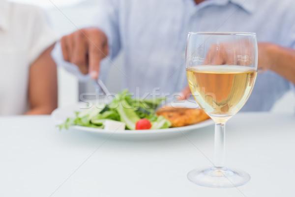 стекла белое вино таблице за пределами балкона дома Сток-фото © wavebreak_media