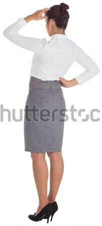 Jovem enfermeira túnica indicação branco médico Foto stock © wavebreak_media