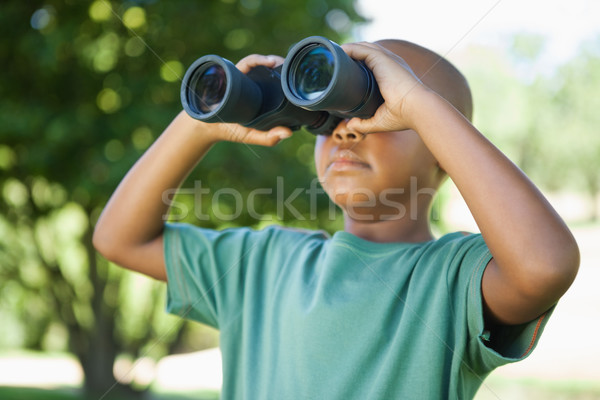 Little boy looking up through binoculars in the park Stock photo © wavebreak_media