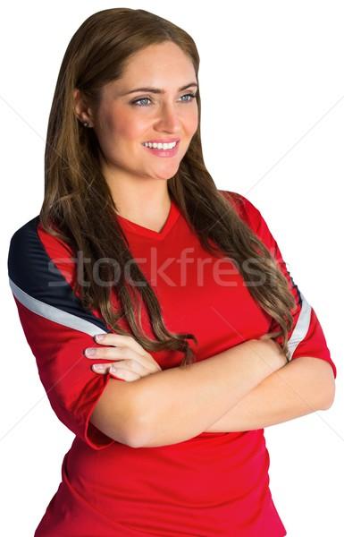 かなり サッカー ファン 笑みを浮かべて 白 女性 ストックフォト © wavebreak_media