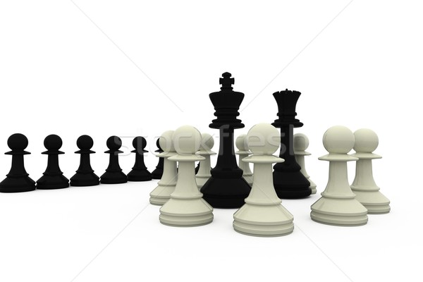 Black king and queen surrounded by white pieces Stock photo © wavebreak_media