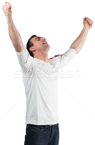 Opgewonden voetbal fan juichen witte sport Stockfoto © wavebreak_media